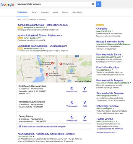 Kauneushoitola Tampere Googlessa