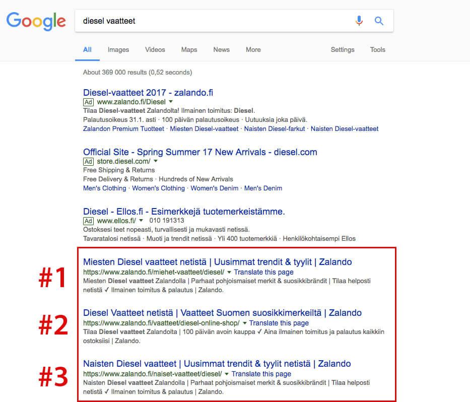 Googlen hakutulokset sanalle diesel vaatteet