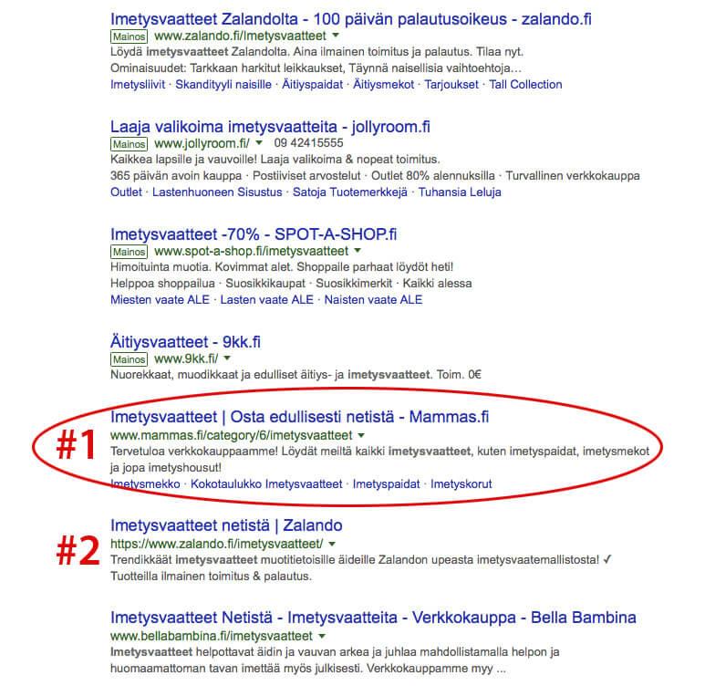 Imetysvaatteet hakusanan Google-sijoitukset