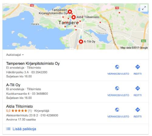 Kuvassa karttahaun tulokset Tampereella