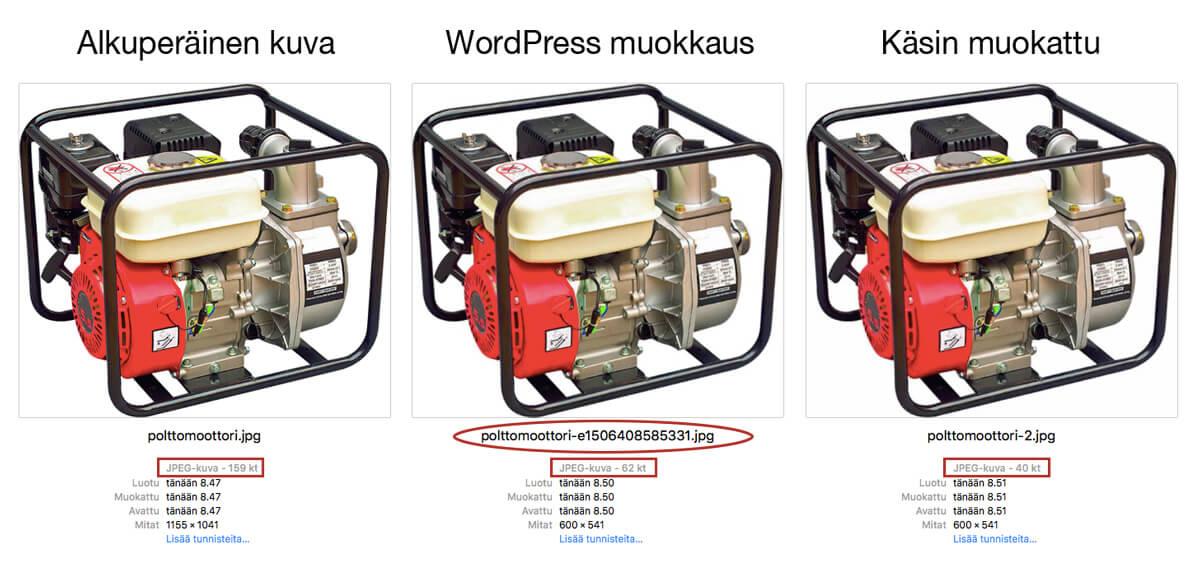 Pakattujen kuvien vertailu