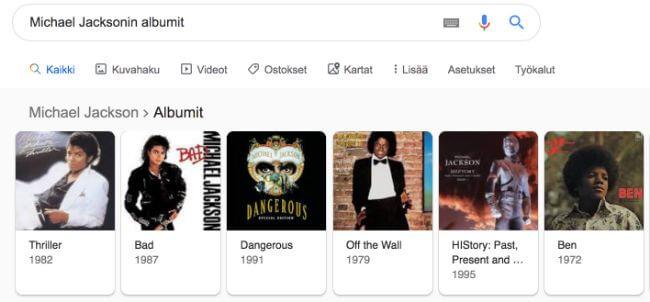 Esimerkki schemasta Michael Jacksonin albumit -hakutermillä
