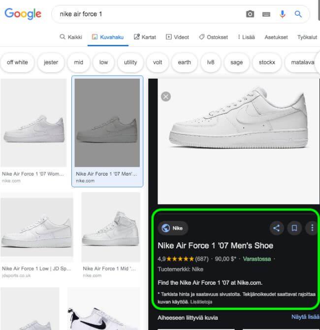 Kuvahaun tulos Nike Air Force 1 -kengille